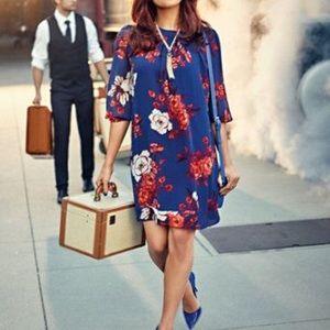 Eva Mendes Floral Blue Dress